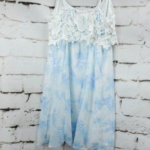 Hollister white chiffon dress with blue flowers